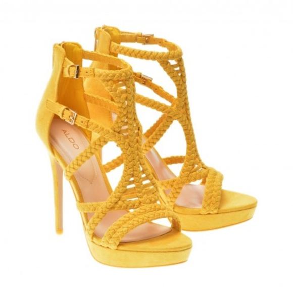 32ec131490a Braided Caged Vamp ALDO Yellow Porella Heels 5